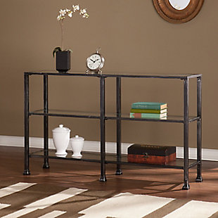 Arryn 3-Tier Console Table - Distressed Black, , rollover