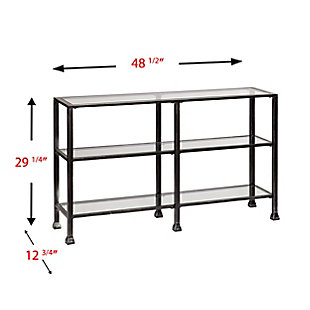 Arryn 3-Tier Console Table - Distressed Black, Black, large