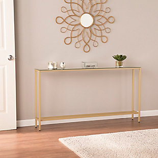 Blucat Narrow Long Console Table with Mirrored Top - Gold, , rollover