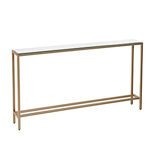 Blucat Narrow Long Console Table with Mirrored Top - Gold, , large