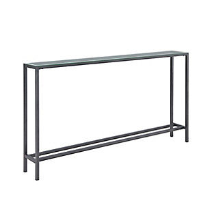 Blucat Narrow Long Console Table with Mirrored Top – Gunmetal Gray, , large