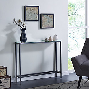 Blucat Narrow Mini Console Table with Mirrored Top – Gunmetal Gray, , rollover
