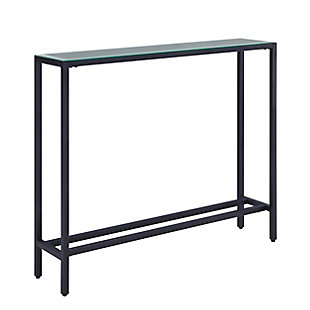 Blucat Narrow Mini Console Table with Mirrored Top – Gunmetal Gray, , large