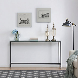 Blucat Narrow Long Console Table with Mirrored Top – Black, Black, rollover