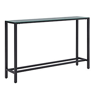 Blucat Narrow Long Console Table with Mirrored Top – Black, Black, large