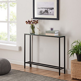 Blucat Narrow Mini Console Table with Mirrored Top - Black, Black, rollover