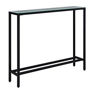 Blucat Narrow Mini Console Table with Mirrored Top - Black, Black, large