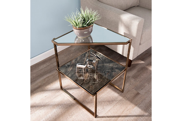 Baymer Mirrored Side Table with Faux Stone Glass, , large