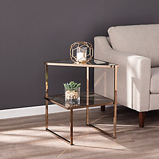 Baymer Mirrored Side Table with Faux Stone Glass, , rollover