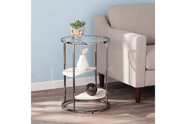 Terra Round Side Table with Faux Stone, , large