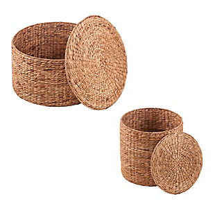 Salas Round Water Hyacinth Storage Tables (Set of 2), , large