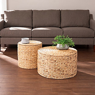 Salas Round Water Hyacinth Storage Tables (Set of 2), , rollover