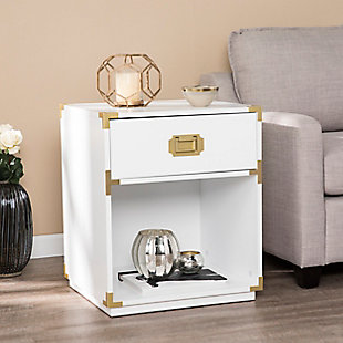 Orna Campaign Tall Storage Side Table with Drawer, , rollover