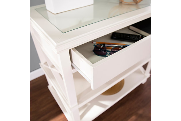 Camm Glass-Top Accent Table - White, , large