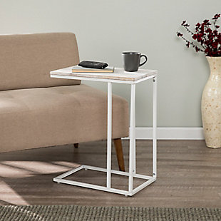 Riglea White C Table/Laptop Desk with Acacia Wood Top, , rollover