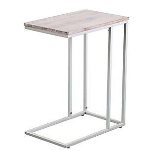 Riglea White C Table/Laptop Desk with Acacia Wood Top, , large