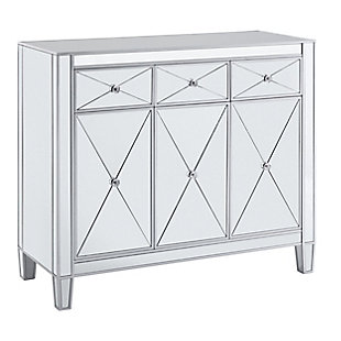 Bellah 3-Door Mirrored Cabinet, , large