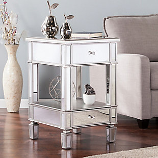 Pemera Mirrored Side Table - Glam Style - Brushed Matte Silver with Mirror, , rollover