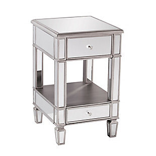 Pemera Mirrored Side Table - Glam Style - Brushed Matte Silver with Mirror, , large