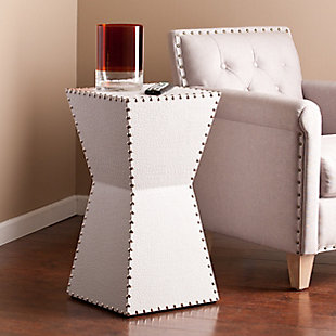 Modda Leather Accent Table - White, , rollover