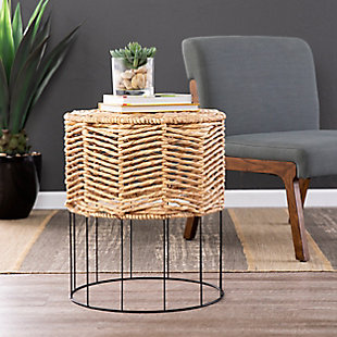 Corto Water Hyacinth Accent Table, , rollover