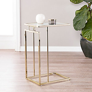 Colbi Glass-Topped C-Table - Glam Style - Champagne with White Faux Marble Glass, , rollover