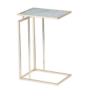 Colbi Glass-Topped C-Table - Glam Style - Champagne with White Faux Marble Glass, , large