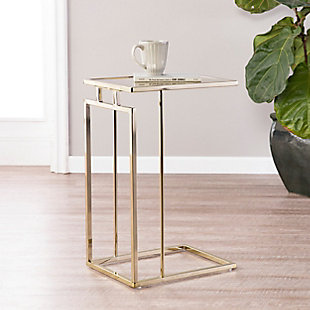 Colbi Mirror-Topped C-Table - Glam Style - Champagne with Antique Mirror, , rollover