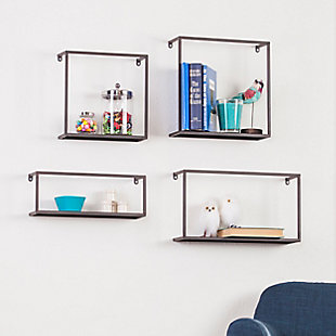 Zyther Metal Wall Shelves (Set of 4), , rollover