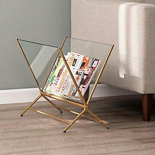 Jaxon Contemporary Glass Magazine Holder, , rollover