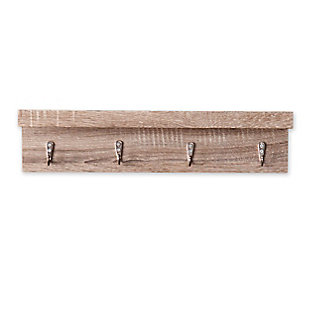 Cox Wall Mount Shelf with Hooks - Grayed Oak, , large