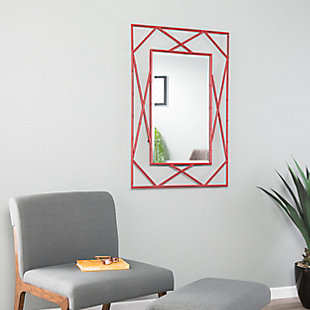 Belews Geometric Wall Mirror - Red, Red, rollover