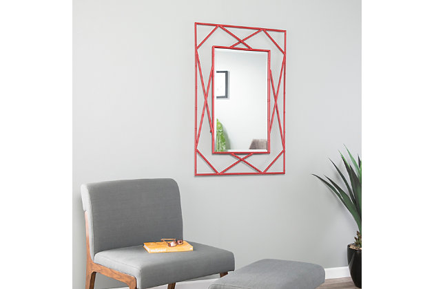Belews Geometric Wall Mirror - Red, Red, large