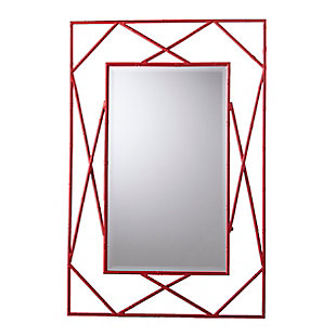 Belews Geometric Wall Mirror - Red, Red, large