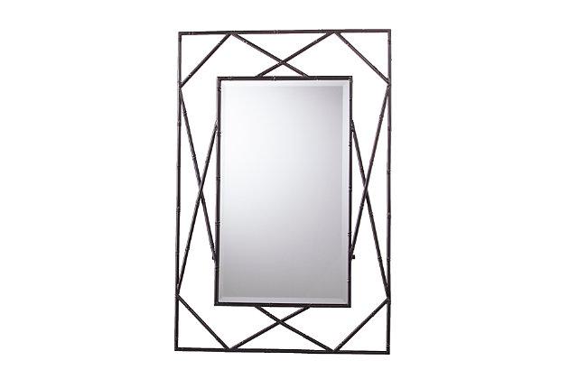 Belews Geometric Wall Mirror - Black, Black, large