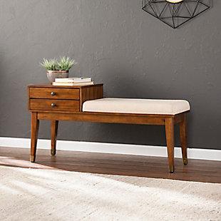 Benams Midcentury Modern Upholstered Storage Bench, , rollover