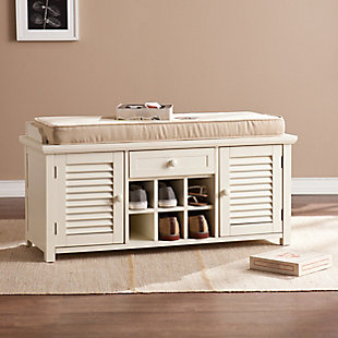 Cortland Shoe Storage Bench - Antique White, , rollover