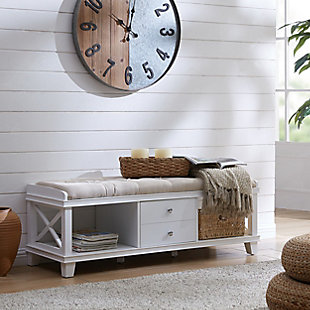 Karlen White Upholstered Storage Bench, , rollover