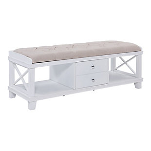 Karlen White Upholstered Storage Bench, , large