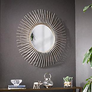 Chalke Round Oversized Sunburst Wall Mirror - Champagne Gold, , rollover