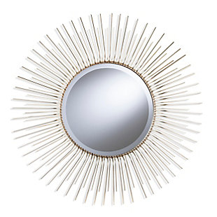 Chalke Round Oversized Sunburst Wall Mirror - Champagne Gold, , large