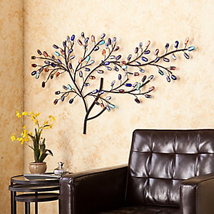 Marie Metal/Glass Tree Wall Sculpture, , rollover