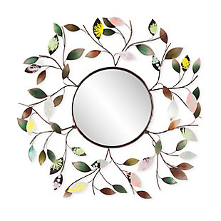 Fasson Decorative Metallic Leaf Wall Mirror, , large