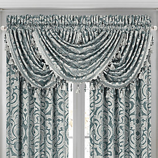 J.Queen New York Sicily - Teal Window Waterfall Valance, Teal, large