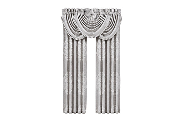 "J.Queen New York La Scala - Silver 84"" Window Panel Pair, Silver, large"