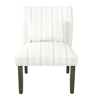 HomePop Parker Accent Chair and Pillow - Dove Gray Stripe, , rollover