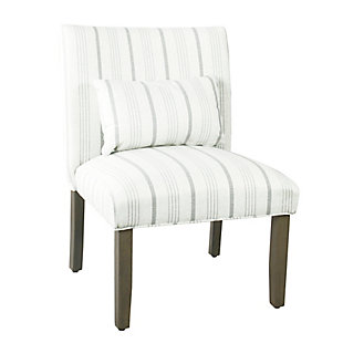 HomePop Parker Accent Chair and Pillow - Dove Gray Stripe, , large