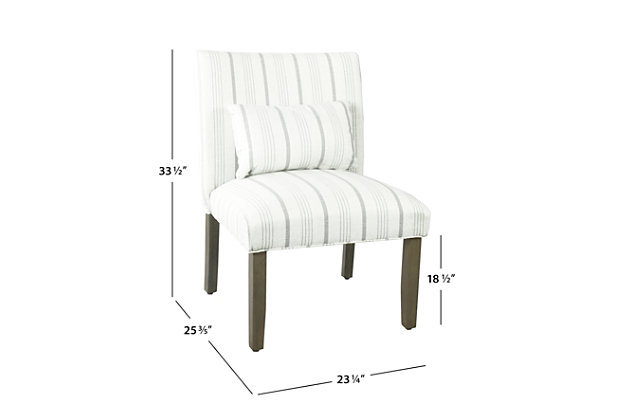 HomePop Parker Accent Chair and Pillow - Dove Gray Stripe, White, large