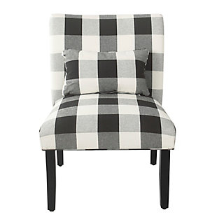 HomePop Parker Accent Chair and Pillow - Black Plaid, , rollover