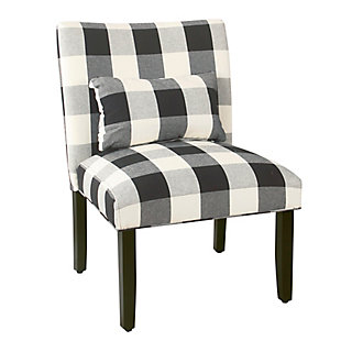 HomePop Parker Accent Chair and Pillow - Black Plaid, , large